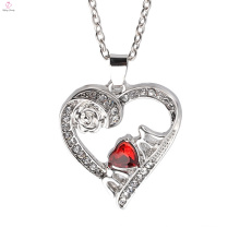 Hot selling Europe jewelry rose gold plated crystals heart pendant necklace